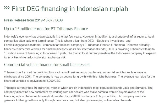 First DEG Financing In Indonesian Rupiah
