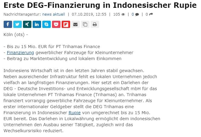 Erste DEG-Finanzierung In Indonesischer Rupie